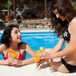 Chatting at the poolside — Foto de Stock