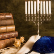 Stock Photo: Prayer shawl and hanukkah