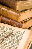Torah pointer on parchment — 图库照片