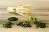 Bamboo whisk and green tea — Stock Photo