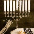 Prayer shawl and hanukkah — Stock Photo