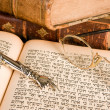 Stock Photo: Torah pointer and glasses