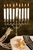 Prayer shawl and hanukkah — Stock Photo