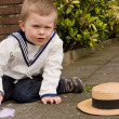 Stock Photo: Vintage boy with chalk