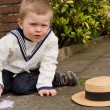 Foto de Stock  : Vintage boy with chalk