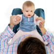 Stock Photo: Baby playing with daddy