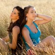 Stock Photo: Zen women in a field
