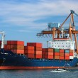 Docked container ship — Stock Photo