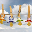 Pacifiers in line — Stock Photo