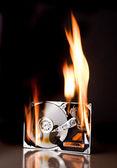 Dysk twardy w ogniu — Zdjęcie stockowe