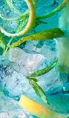 Blue cocktail macro — Stock Photo