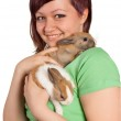 Smiling with two rabbits — Stock Photo