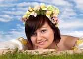 Happy springtime woman — Stock Photo