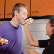 Pie fight in the kitchen — Stock Photo