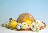 Easter eggs hat — Stock Photo