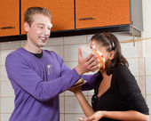 Pie in her face — Stock Photo
