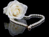 White pearls and rose — Stock Photo