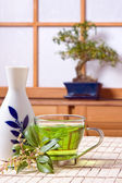 Sake and tea — Stock Photo