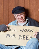 Drunken beggar — Stock Photo