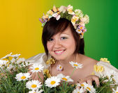 Daisies and spring girl — Stock Photo
