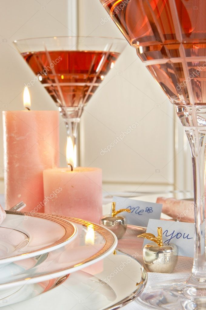 Decorated table with wine and namecards me and you  Stock Photo #8750994