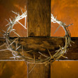 Cross with crown of thorns — Stock Photo