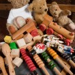 Stock Photo: Teddy bears and old toys