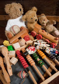 Teddy bears and old toys — Stock Photo