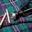 Royalty-Free Stock Photo: Bagpipe reeds on tartan
