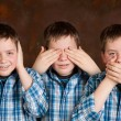 Speak hear see no evil - Stock Photo