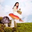 Fairy tale girl on toadstool — Stock Photo