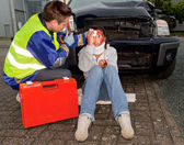Injured in a car accident — Stock Photo