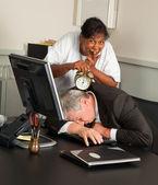 Office manager fallen asleep — Stock Photo