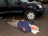 Car accident dead body — Stock Photo