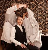 Vorbereitung für einen haarschnitt — Stockfoto