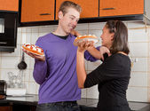 Fighting with pies — Stock Photo