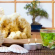 Bonsai and bath products — Stock Photo