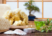 Bonsai and bath products — Stock Photo