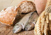 Wine bread and fish — Stock Photo