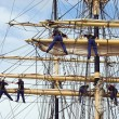 Stock Photo: Climbing sailors