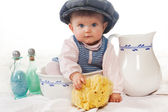 Wash basin funny baby — Stock Photo