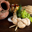 Communion wine and bread — Stock Photo