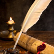 Stock Photo: Wax seal and quill pen