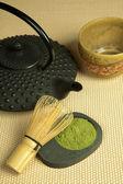 Teapot and green tea powder — Stockfoto