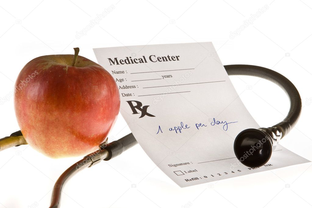 An apple a day keeps the doctor away is an old saying  Stock Photo #9397046