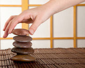 Zen stones in japanese interior — Stock Photo