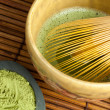 Bamboo wire whisk and japanese tea — Stockfoto #9545665