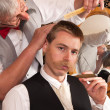Customer in a barber shop - Stock Photo