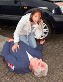 Calling for an ambulance — Stock Photo