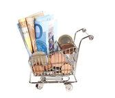 Abundância de dinheiro para fazer compras — Fotografia Stock